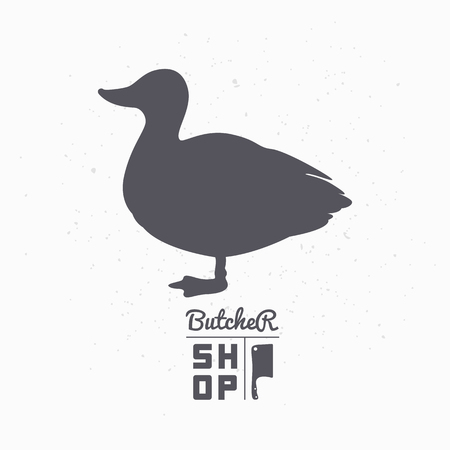 duck meat: Farm bird silhouette. Duck meat. Butcher shop template for craft food packaging or restaurant design. Vector illustration
