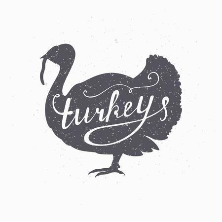 手描き下ろしファーム鳥ヒップ シルエット。七面鳥の肉は手レタリングです。クラフト牛肉肉包装または食品レストランの肉屋店デザイン テンプレ  イラスト・ベクター素材