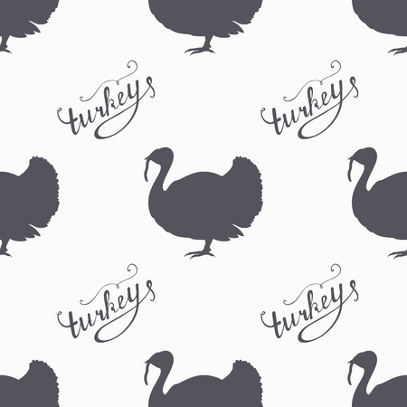 turkey: Hand drawn farm bird hipster silhouettes seamless pattern. Turkey meat hand lettering. Butcher shop design template for craft beef meat package. Seamless packaging background. Vector illustration