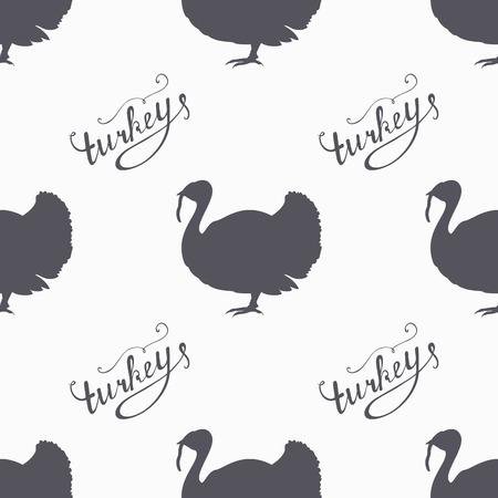 pavo: Mano de granja dibujado inconformista aves siluetas sin patr�n. Letras de carne mano Turqu�a. Carnicero plantilla de dise�o de la tienda para el paquete de carne de vacuno de artesan�a. Fondo envases sin fisuras. Ilustraci�n vectorial