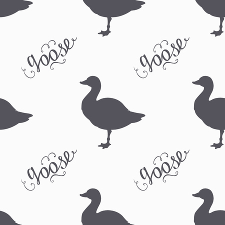 viande boeuf: Hand drawn farm bird hipster silhouettes seamless pattern. Goose meat hand lettering. Butcher shop design template for craft beef meat package. Seamless packaging background. Vector illustration