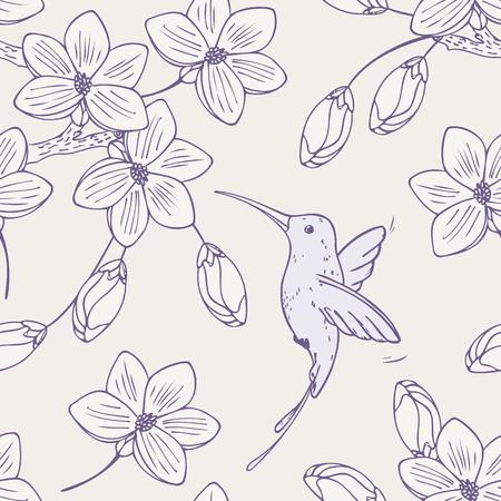 Hand drawn seamless fredonner colibri et de fleurs oiseau. Le style Doodle floral illustration vectorielle avec colibri Vecteurs