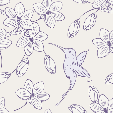 Hand drawn seamless pattern with humming bird colibri and flowers. Doodle style floral vector illustration with hummingbird
