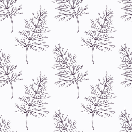 dill: Hand drawn dill branch outline seamless pattern. Doodle drawing spicy herbs. Kitchen background. Hand drawn seasoning. Vector illustration Illustration