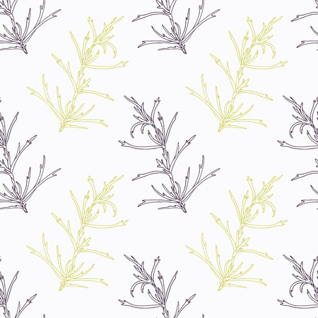 tarragon: Hand drawn tarragon branch stylized black and green tline seamless pattern. Doodle drawing spicy herbs. Kitchen background. Hand drawn seasoning. Vector illustration