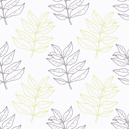 카레: Hand drawn curry leaves and branch stylized black and green seamless pattern. Doodle drawing spicy herbs. Kitchen background. Hand drawn seasoning. Vector illustration