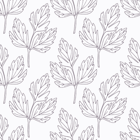 lovage: Hand drawn lovage branch outline seamless pattern. Doodle drawing spicy herbs. Kitchen background. Hand drawn seasoning. Vector illustration Illustration