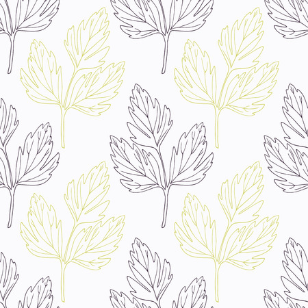 lovage: Hand drawn lovage branch wirh flowers stylized black and green seamless pattern. Doodle drawing spicy herbs. Kitchen background. Hand drawn seasoning. Vector illustration