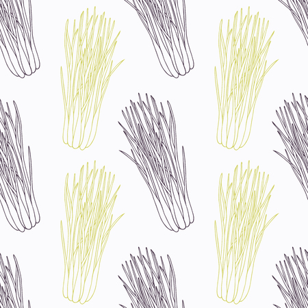 lemongrass: Hand drawn lemongrass branch wirh flowers stylized black and green seamless pattern. Doodle drawing spicy herbs. Kitchen background. Hand drawn seasoning. Vector illustration