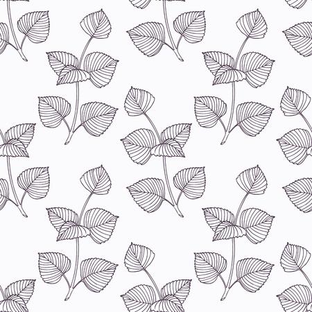 手描き下ろしシソ支店概要シームレス パターン。スパイシーなハーブを描く落書き。キッチンの背景。手には、調味料が描画されます。ベクトル図  イラスト・ベクター素材