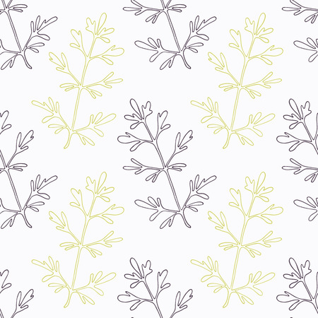 ruta or rue branch wirh flowers stylized black and green seamless pattern. Doodle drawing spicy herbs. Kitchen background.