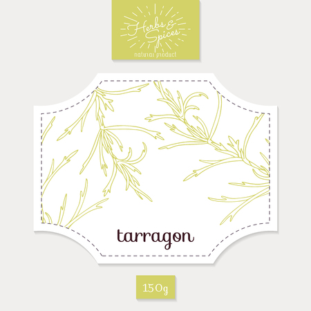 tarragon: Product sticker with hand drawn tarragon leaves. Spicy herbs packaging design. Food label template. Vector illustration