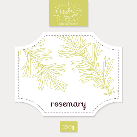 Product sticker with rosemary leaves. Spicy herbs packaging design. Food label template.