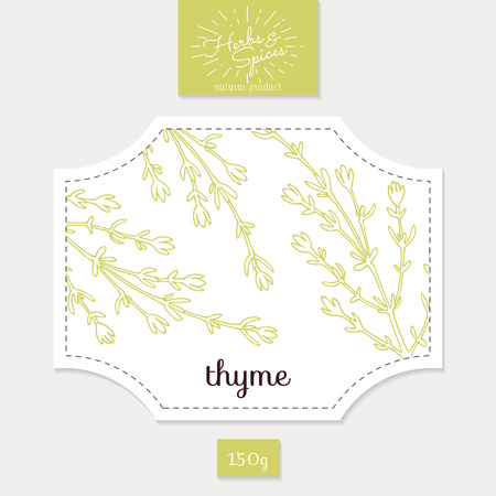 thyme: Product sticker with thyme leaves. Spicy herbs packaging design. Food label template.