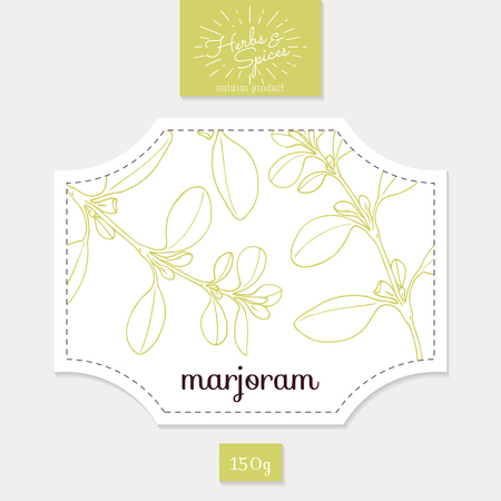 Product sticker with  marjoram leaves. Spicy herbs packaging design. Food label template.