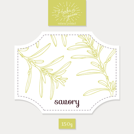 savory: Product sticker with savory leaves. Spicy herbs packaging design. Food label template. Illustration