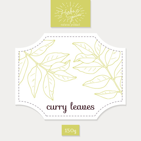카레: Product sticker with  curry leaves. Spicy herbs packaging design. Food label template. 일러스트