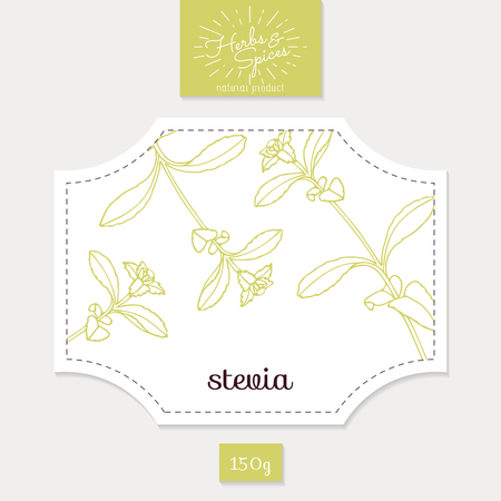 spicy: Product sticker with stevia leaves. Spicy herbs packaging design. Food label template. Illustration
