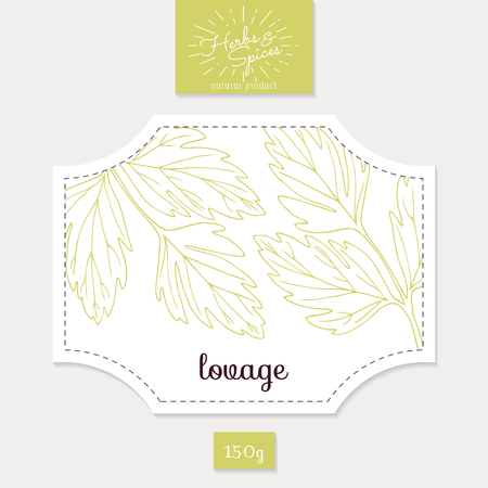 lovage: Product sticker with lovage leaves. Spicy herbs packaging design. Food label template.