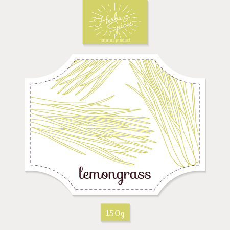 herbs white background: Product sticker with lemongrass leaves. Spicy herbs packaging design. Food label template. Illustration