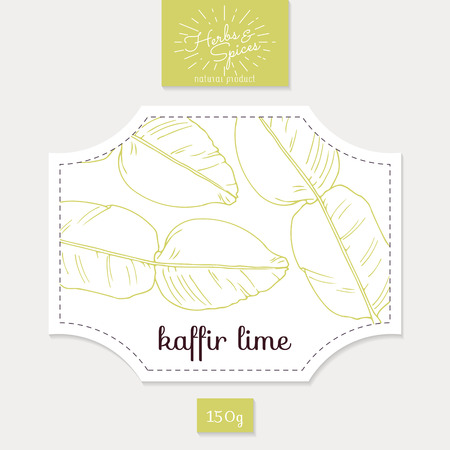 natural food: Product sticker with kaffir lime leaves. Spicy herbs packaging design. Food label template.