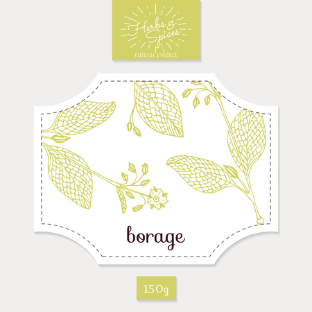 clean food: Product sticker with borage leaves. Spicy herbs packaging design. Food label template. Illustration