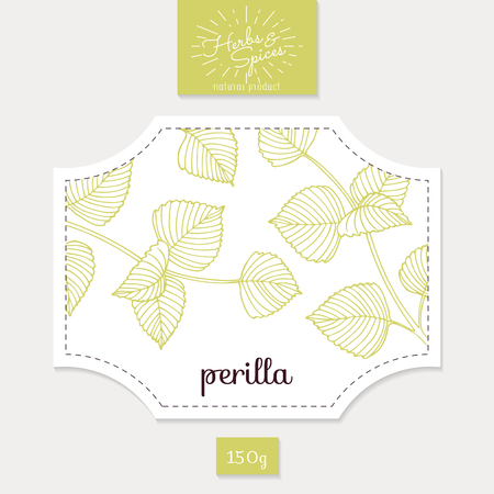 spicy: Product sticker with  perilla leaves. Spicy herbs packaging design. Food label template.