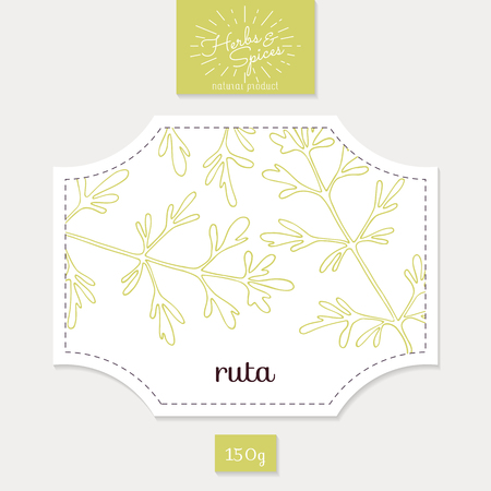 rue: Product sticker with  ruta or rue. Spicy herbs packaging design. Food label template.