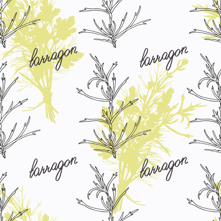 tarragon: Hand drawn tarragon branch and handwritten sign. Spicy herbs seamless pattern with hand lettering seasoning title. Doodle kitchen background.