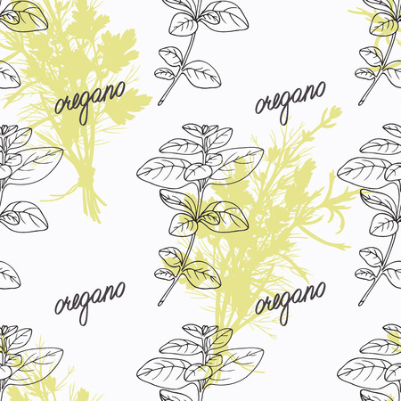 oregano: Hand drawn oregano branch and handwritten sign. Spicy herbs seamless pattern with hand lettering seasoning title. Doodle kitchen background.