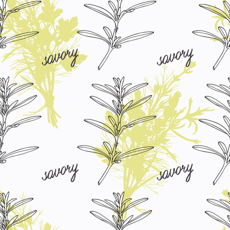 savory: Hand drawn savory branch and handwritten sign. Spicy herbs seamless pattern with hand lettering seasoning title. Doodle kitchen background.