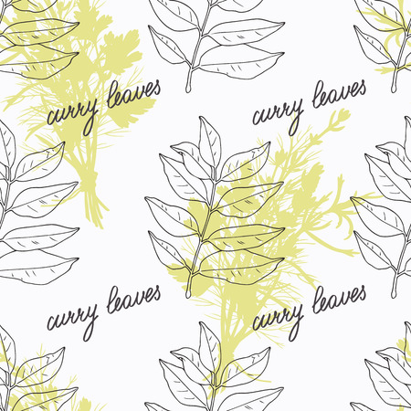 curry: Hand drawn curry leaves and branch and handwritten sign. Spicy herbs seamless pattern with hand lettering seasoning title. Doodle kitchen background. Illustration