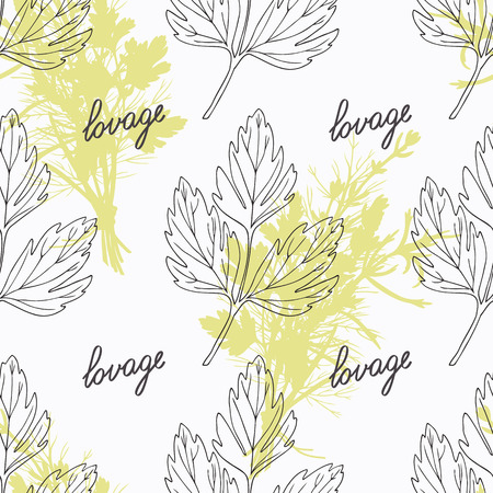lovage: Hand drawn lovage branch and handwritten sign. Spicy herbs seamless pattern with hand lettering seasoning title. Doodle kitchen background.  Illustration