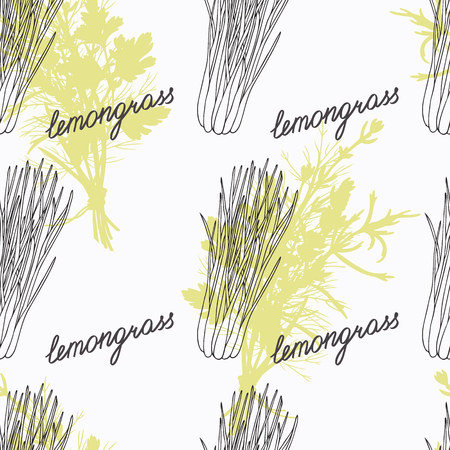 lemon grass: Hand drawn lemongrass branch and handwritten sign. Spicy herbs seamless pattern with hand lettering seasoning title. Doodle kitchen background.  Illustration