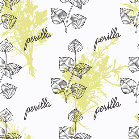 seasoning: Hand drawn perilla branch and handwritten sign. Spicy herbs seamless pattern with hand lettering seasoning title. Doodle kitchen background. Illustration