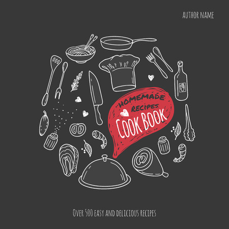 Cook book cover with hand drawn food illustrations and doodle speech bubble. Culinary background Ilustração