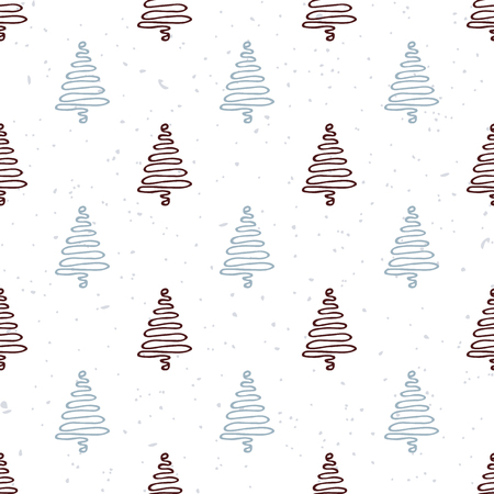 tree line: Seamless pattern with hand drawn christmas tree. Doodle holiday background. Hipster style.