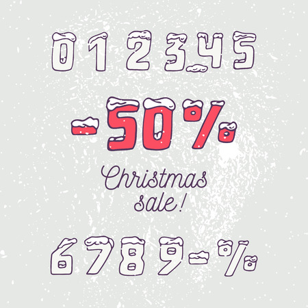 web 2 0: Christmas sale collection. Hand drawn numbers and snow in doodle style. Winter background.