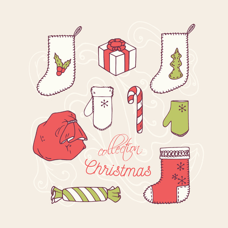 new year celebration: Christmas holiday decoration icons collection. Frosty ornament background. Vector illustration