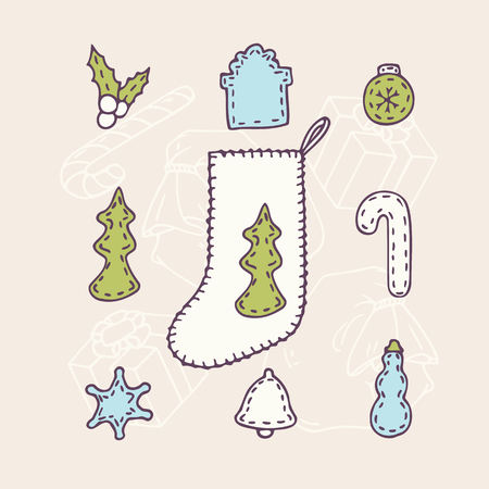sewn: Hand drawn christmas sock set with different sewn decorations for tour design. Holyday background. Vector illustration