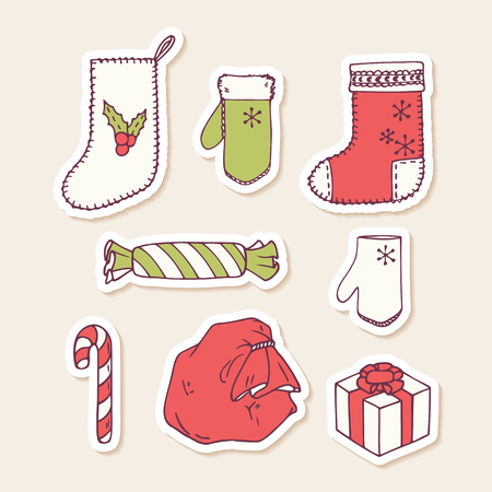 white sticker: Set of hand drawn christmas stickers. Doodle holiday decorative clip art. Vector illustration