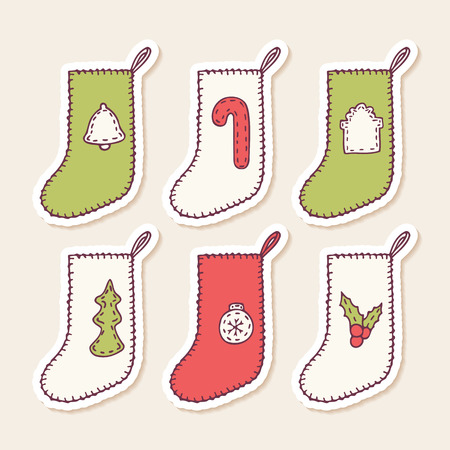 sewn: Set of hand drawn christmas sock stickers with different sewn decorations for your design. Doodle holiday clip art. Vector illustration Illustration