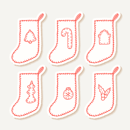 sewn: Set of hand drawn outline christmas sock stickers with different sewn decorations for your design. Doodle holiday clip art. Vector illustration Illustration
