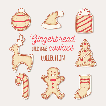 christmas cake: Hand drawn gingerbread cookies set. Christmas bauble, ball, santa hat, gift, reindeer, deer, christmas tree, candy cane, man, sock. Doodle holiday food. May be used for recipes, packaging or kitchen design. Vector illustration Illustration