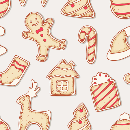 holiday food: Hand drawn gingerbread cookies seamless pattern. Christmas sweets. Holiday food background. Vector illustration