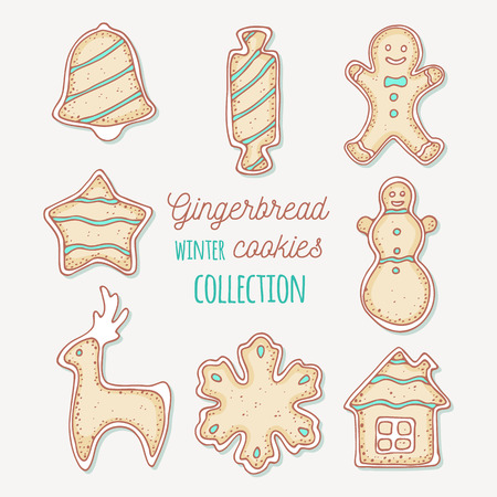 Hand drawn gingerbread cookies. Winter sweets collection. Holiday food clip art. Vector illustration Illustration