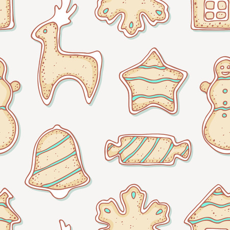 holiday food: Hand drawn gingerbread cookies seamless pattern. Winter sweets. Holiday food background. Vector illustration
