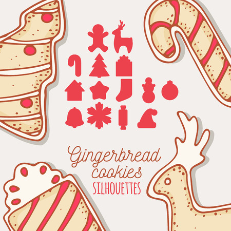 holiday food: Christmas silhouettes icons collection. May be used for gingerbread cookie forms or holiday food packaging. Hand drawn sweets. Vector illustration