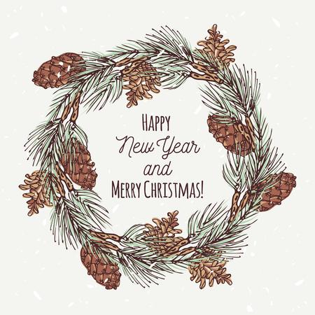 手描きのクリスマス リースとパイン コーンとクリスマスのグリーティング カード。あなたのテキストのための場所の背景をテンプレート。ベクト  イラスト・ベクター素材