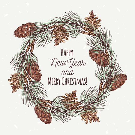 Christmas greeting card with hand drawn christmas wreath and pine cone. Template background with place for your text. Vector illustration